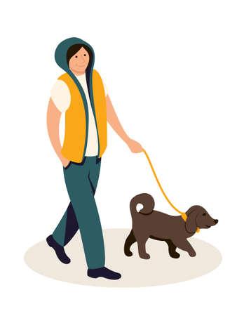 Teenager walking with dog vector illustration Illustration
