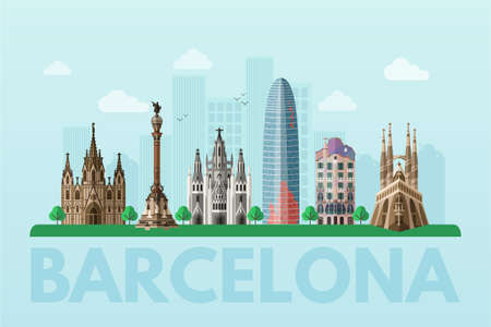 Barcelona sightseeing tour blue flat vector banner