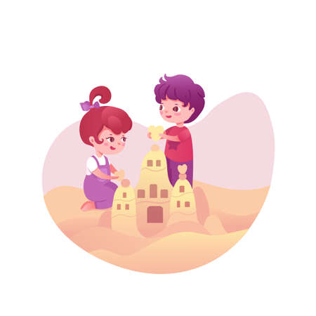 Cute kids with sandcastle vector illustration isolated on white background
