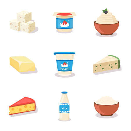 Dairy products cartoon vector illustrations set