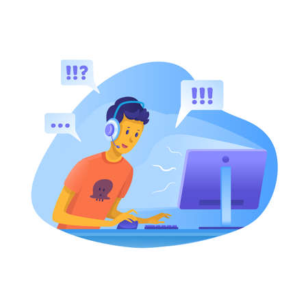 Boy playing computer games vector illustration