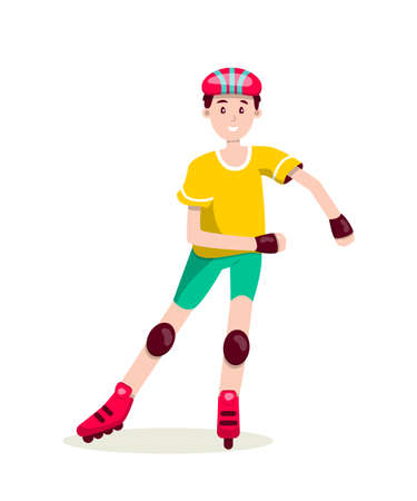 Boy roller skating flat character isolated on white background