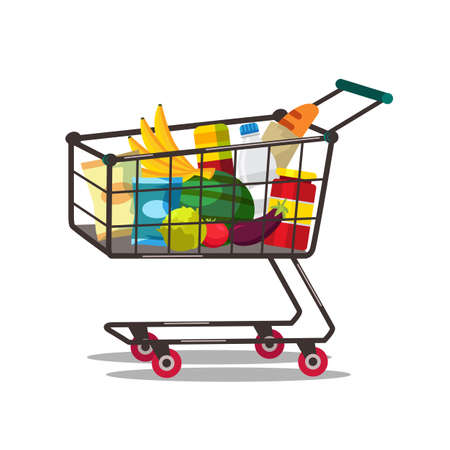 Shopping cart with products vector illustration isolated on white background