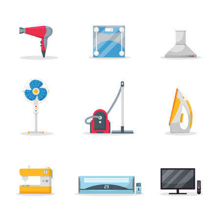 Household appliances flat vector illustrations set isolated on white background