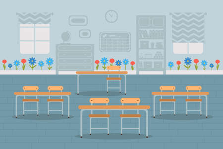 Empty classroom interior design flat illustration isolated on blue background Ilustração