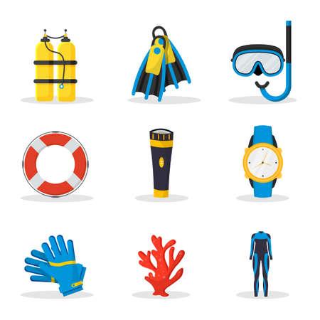 Scuba diving equipment vector illustrations set Иллюстрация