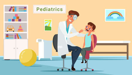 Little boy in pediatrics office flat illustration