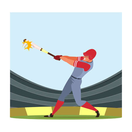 Baseball player flat vector illustration