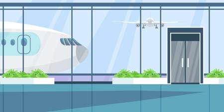 Airport terminal flat illustration. Vector design element. Иллюстрация
