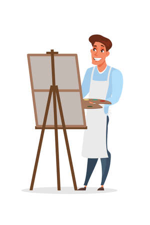 Artist painting picture vector illustration isolated on white background