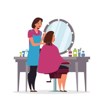 Hairdressing, beauty salon flat illustration isolated on white background