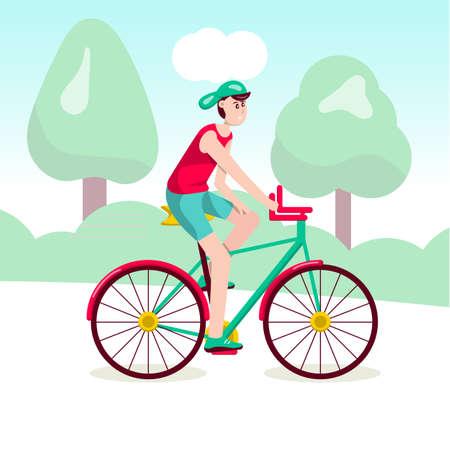 Ragazzo in sella a una bicicletta illustrazione vettoriale. Attività all'aperto. Personaggio dei cartoni animati del giovane che viaggia Immagine di trasporto ecologico. Vettoriali