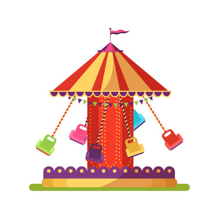 Carousel swing ride flat illustration isolated on white background Stock Illustratie