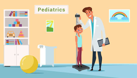 Kid in pediatrics clinic flat illustration Çizim