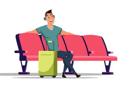 Man in waiting room flat vector illustration Illustration