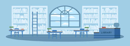 Library interior flat vector illustration