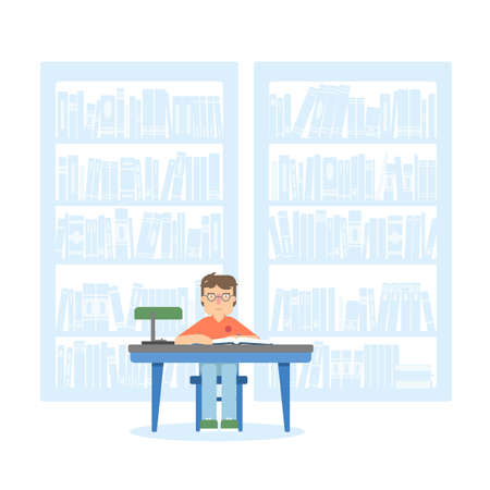 Boy in school library flat illustration Stock Illustratie