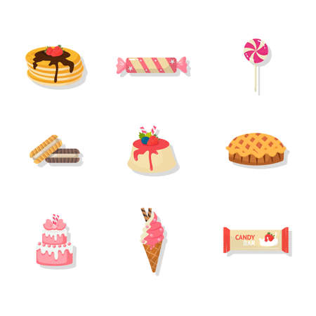 Confectionery and dessert vector illustrations set