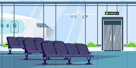 Ilustración plana de la sala de espera de la terminal del aeropuerto. Elemento de diseño vectorial.