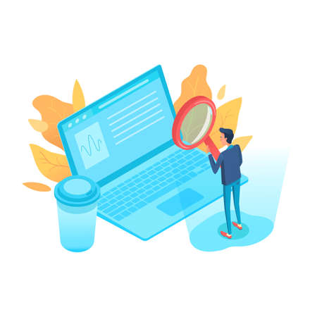 Business analyst isometric vector character Illustration
