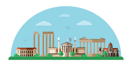 Greece world famous landmarks flat illustration Vektorgrafik