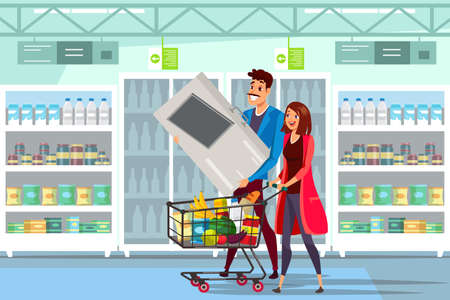 Family in supermarket flat vector illustration
