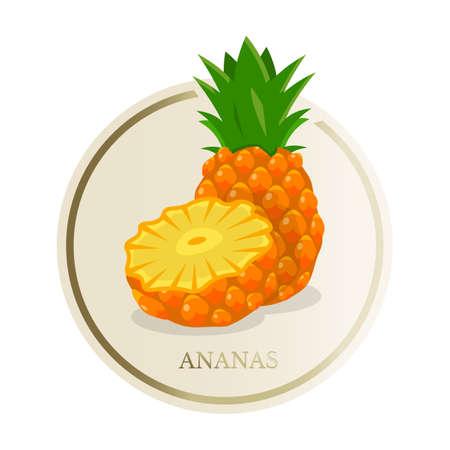 Pineapple flat circle sticker