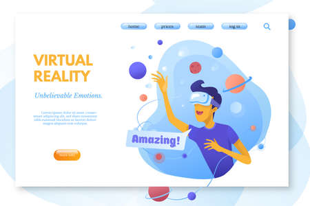 Virtual reality color vector landing page template