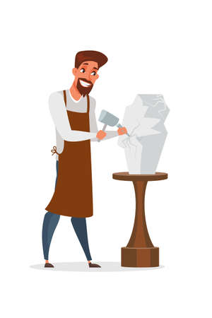 Sculptor making statuette vector illustration isolated on white background