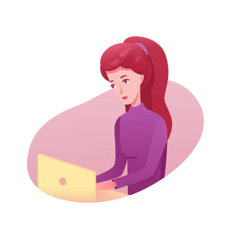 Girl working on laptop flat illustrations. Businesswoman, freelancer, writer, editor using computer. Female student cartoon character doing homework. Remote job. Young busy woman isolated clipart Vettoriali