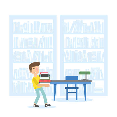 Kid in school library flat illustration Stock Illustratie