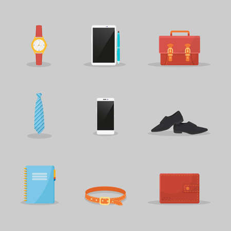 Businessman clothes and items illustrations set