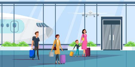 People at airport terminal flat illustration. Vector design element.