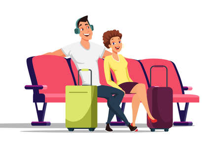 Couple in waiting room flat vector illustration