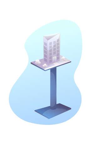 Building model on stand flat illustration
