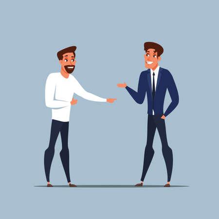 Partnerzy biznesowi rozmawiają o płaskiej ilustracji