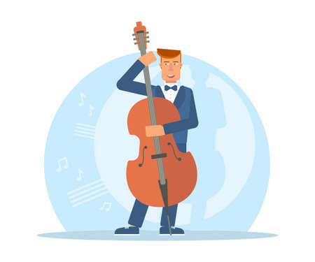 Double bass player flat character  イラスト・ベクター素材