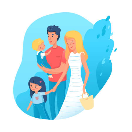 Family time flat illustration