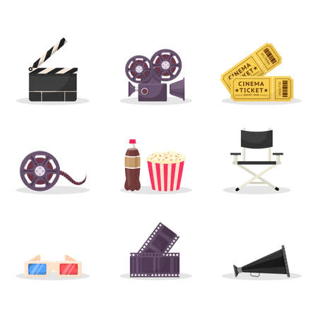 Cinematography items vector illustrations set