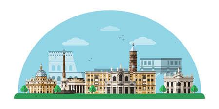Rome cityscape flat illustration Vettoriali