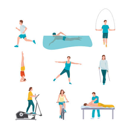 People training flat illustrations set
