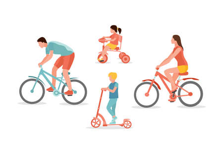 Family on bicycles vector illustration isolated on white background