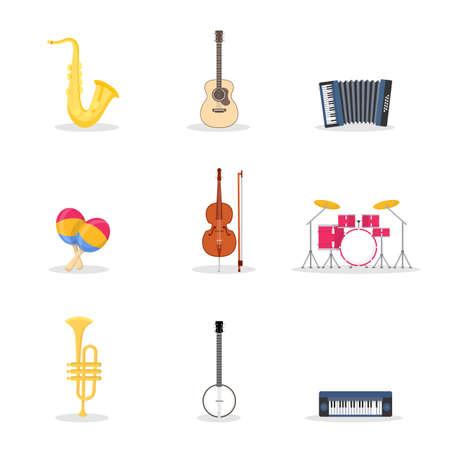 Musical instruments vector illustrations set Illustration