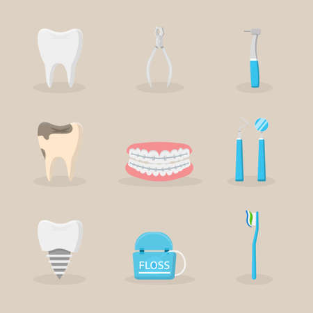 Dentistry items flat vector illustrations set