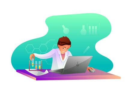 Chemist making research flat character Çizim