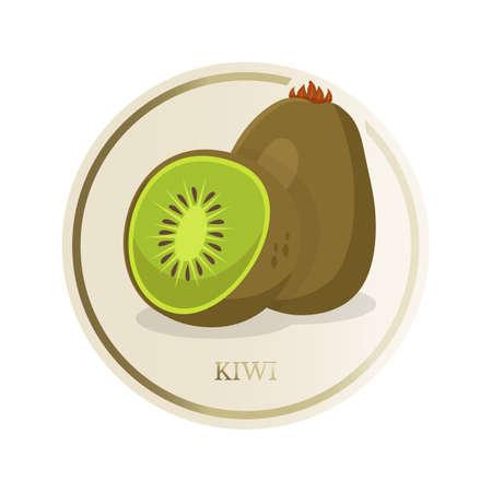 Kiwi flat circle sticker Stock Illustratie