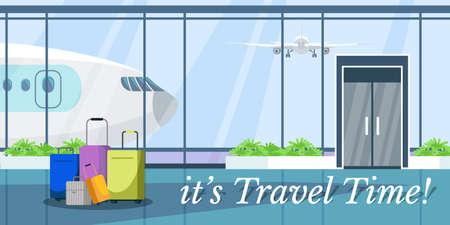 Travel time web banner vector design