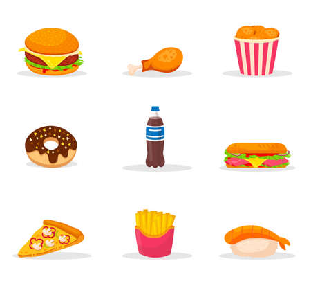 Fast food cartoon color vector illustrations set