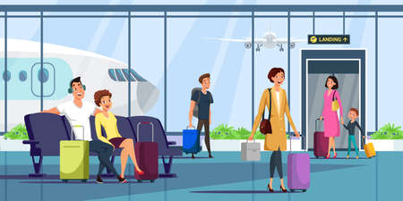 People at airport terminal flat illustration. Men and women with baggage arriving, waiting for departure cartoon characters. Family trip, vacation. Tourism, travel industry. Waiting room interior