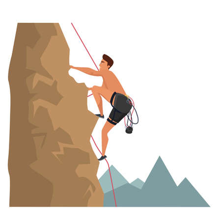 Rock climbing sport flat vector illustration isolated on white background Фото со стока - 130529990